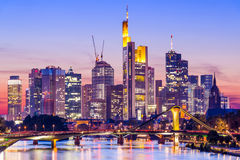 Горизонт Франкфурта Германии Стоковое фото RF