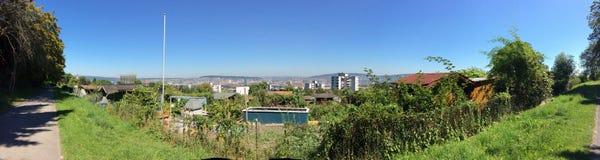 Горизонт Цюриха с садами и небом лета Стоковая Фотография RF