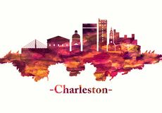 Горизонт Чарлстона Южной Каролины в красном цвете иллюстрация вектора