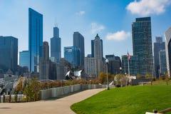 Горизонт Чикаго в парке тысячелетия Стоковая Фотография RF