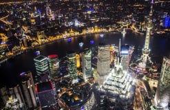 Горизонт Шанхая на ноче Стоковые Изображения