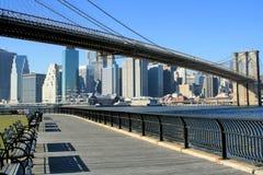 горизонт brooklyn manhattan моста Стоковое Изображение RF