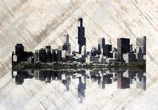 горизонт grunge chicago Стоковые Фотографии RF