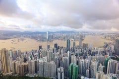 горизонт Hong Kong kowloon заречья залива финансовохозяйственное первое над wiew пикового плана временени взгляда victoria очень  Стоковое Изображение RF