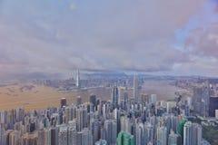 горизонт Hong Kong kowloon заречья залива финансовохозяйственное первое над wiew пикового плана временени взгляда victoria очень  Стоковое Фото