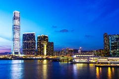 Горизонт Kowloon на ноче стоковые фото