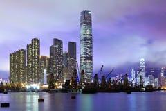 Горизонт Kowloon на ноче стоковая фотография rf