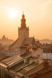 Горизонт Lvov на заходе солнца Стоковая Фотография RF