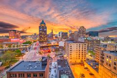 Горизонт Milwaukee, Висконсина стоковая фотография rf