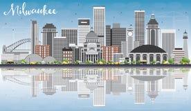 Горизонт Milwaukee с серыми зданиями, голубым небом и отражениями иллюстрация штока