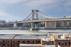 Горизонт NYC от Бруклинского моста Стоковые Фото