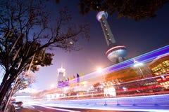 горизонт shanghi ночи Стоковые Изображения
