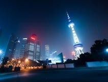 горизонт shanghi ночи Стоковое Изображение RF
