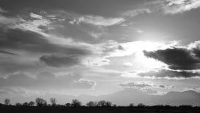 горизонт silhouettes зима вала захода солнца Стоковые Изображения RF