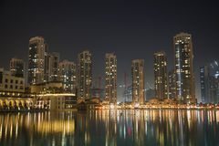 горизонт UAE ночи Дубай Стоковые Фото