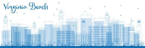 Горизонт Virginia Beach плана (Вирджинии) с голубыми зданиями Стоковые Изображения RF