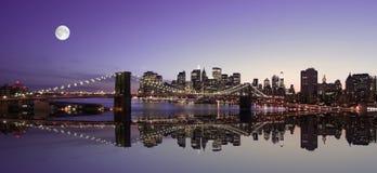 горизонт york ночи города новый Стоковое Изображение
