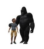 Горилла идя с ребенком Стоковая Фотография