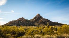 Горная порода башенкы пиковая в ландшафте пустыни стоковое изображение rf