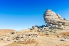 Горная порода мегалита сфинкса в Bucegi, Румынии Стоковое Фото