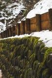 Горная тропа предусматриванная в снеге вокруг Yudanaka, Японии стоковое фото