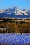 Горная цепь Teton от стороны Айдахо с землей леса и фермы стоковая фотография rf