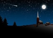 Горное село на Рожденственской ночи - синь Snowy привлекательно старомодное иллюстрация вектора