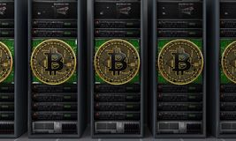 Горнорабочие серверов Bitcoin стоковое изображение rf