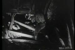 Горнорабочие с электрофонарями проверяя повреждение в тоннеле видеоматериал