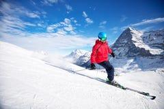 Горнолыжный курорт швейцарской лыжи Jungfrau высокогорный, Grindelwald, Швейцария Стоковые Изображения