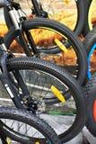 Горные велосипеды на автостоянке велосипеда Стоковые Фотографии RF