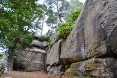 Горные породы на высоких утесах, Tunbridge Wells, Кенте, Великобритании Стоковое Фото