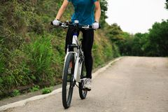 Горный велосипед велосипедиста женщин задействуя на следе леса Стоковые Изображения RF