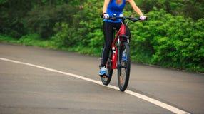 Горный велосипед велосипедиста женщин задействуя на следе леса Стоковая Фотография