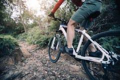 Горный велосипед катания велосипедиста на скалистом следе стоковая фотография