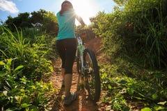 Горный велосипед нося велосипедиста взбираясь на следе леса лета Стоковое Изображение