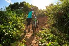 Горный велосипед нося велосипедиста взбираясь на следе леса лета Стоковые Изображения RF
