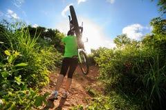Горный велосипед нося велосипедиста женщины взбираясь на следе леса лета Стоковые Фото