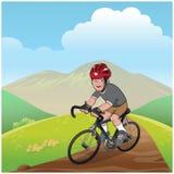 Горный велосипед мальчика Стоковые Изображения