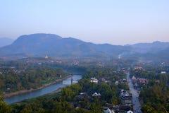 Горный вид взгляд сверху Luang Prabang Стоковые Фотографии RF