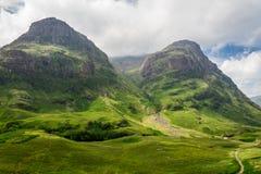Горный вид в Шотландии в Glencoe Стоковые Фотографии RF