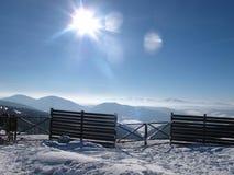 Горный вид зимы с 2 пони Стоковая Фотография RF