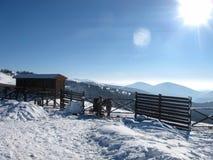 Горный вид зимы с 2 пони Стоковое Фото