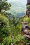 Горный вид плато права скалы Стоковая Фотография