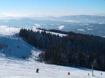 Горный вид с лыжниками Стоковые Изображения RF