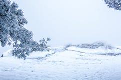 Горный вид Huangshan после снега 02 Стоковые Изображения RF