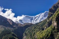 Горный пик Snowy между горами и деревьями Стоковое Изображение RF