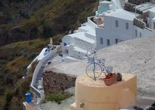 Горный склон острова Santorini Стоковые Фотографии RF