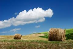 горный склон сена bales сверх Стоковые Изображения