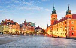 Городок Варшавы старый, Plaz Zamkowy, Польша, никто стоковые фотографии rf
